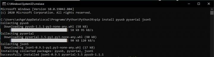 install python pyusb json5