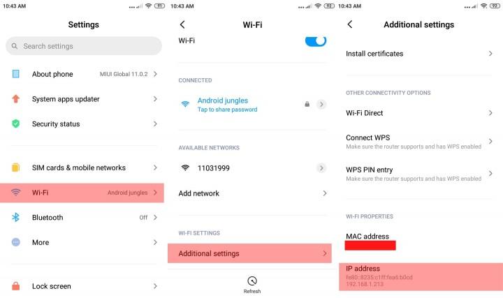 Verifique la dirección IP del dispositivo Android