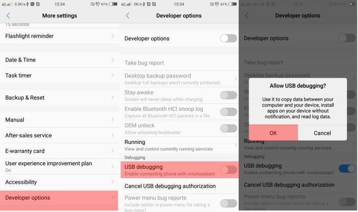 Depuración de USB de Android 10