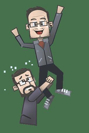 Una versión de dibujos animados de Justin Stanley cuelga de la pierna de Josh Silverman, que parece estar agarrando algo de la pantalla.